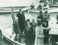 Taking over the 'Treaty ports'—Eamon de Valera leads a delegation to Spike Island, 11 July 1938. Following negotiation of the 1938 Anglo-Irish Agreement, British Prime Minister Neville Chamberlain told Dev that he could go home and 'make a great deal of the fact that the United Kingdom government had agreed to wipe out the land annuity payments'. (Irish Press)