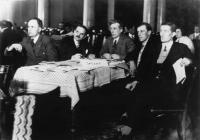 Peadar O'Donnell (centre)—the crucial figure in the anti-annuities agitation—with the delegation of the recently formed Irish Working Farmers' Committee (IWFC) at the Congress of Peasants International (Krestintern), Berlin, March 1930.