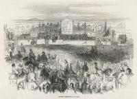 Daniel O'Connell's 'monster meeting' at the Hill of Tara on 15 August 1843 as depicted in The Illustrated London News. Note the aged harper in bardic dress playing the harp, placed at the centre of the picture for maximum symbolic effect.