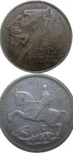 He first came to prominence for his medals struck for the British Empire Exhibition of 1924 (top). One of his most famous creations was the 'rocking horse' crown (five shillings) to celebrate George V's silver jubilee in 1933