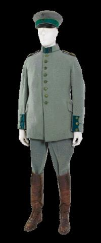 Members of Casement's Irish Brigade were issued a standard German army uniform, adapted to include Irish symbols such as the shamrock (cap) and the harp (cap and collar). (National Museum of Ireland)