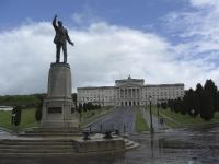 Carson's role in these events is captured by the statue that stands outside Stormont, his countenance struck in a pose of defiant oratory that would sum up his efforts during this tumultuous period of Irish history. (mharpur.blogspot.com)
