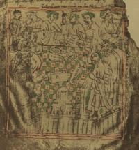 From an early fifteenth-century drawing of the Court of the Irish Exchequer in the 'Red Book of the Irish Exchequer' (destroyed in 1922). Together with the chancery and parliament, the exchequer was one of the institutional legacies bequeathed by the Middle Ages to modern Ireland.