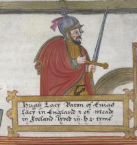 Sixteenth-century depiction of Hugh de Lacy, who in 1172 was granted the liberty of Meath (the northern part of the modern province of Leinster). It suited the English Crown to delegate the government of such frontier regions to great lords. County Meath was created in 1297, Westmeath in 1541–2 and Longford in 1570. (British Library)