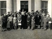 President Eamon de Valera welcoming delegates of the International Alliance of Women Congress to Áras an Uachtaráin in 1961. Hilda Tweedy is standing on de Valera's left. (National Archives of Ireland)