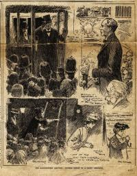 'The Huddersfield Election: Closing Scenes of a Short Campaign'. The Manchester by-election (1908) was not the first time that Eva Gore-Booth campaigned against Winston Churchill. In 1906 she supported a Labour candidate at a Huddersfield by-election. The Liberal candidate, Arthur Sherwell, was supported by Churchill, then a young MP. On that occasion the Liberal Party was victorious. (Daily Graphic, 28 November 1906)