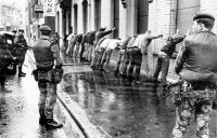The British Army rounding up suspects. Conventional wisdom in the years since has promoted an erroneous notion that internment failed because RUC intelligence on the IRA was out of date. (An Phoblacht)