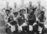 The Irish side beaten 2–1 (after extra time) by Holland in the 1924 Olympic Games quarter-final. Back row: Bertie Kerr, Jack McCarthy, Ernie McKay, Johnny Murray and Tommy Muldoon. Front row: John Joe Dykes, Denis Hannon, Paddy O'Reilly and Paddy Duncan. Missing from the photo: Michael Farrell and Frank Ghent. (IOC Lausanne)