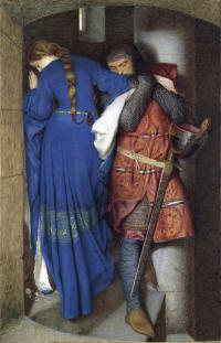 Hellelil and Hildebrand. The meeting on the turret stairs (1864), by Frederic William Burton (1816–1900), recently voted Ireland's favourite painting. The highly finished preliminary study (opposite page) in washes is larger than the final watercolour. It was discovered during conservation, under the cartoon of Burton's Cassandra Fedele (1869, NGI.2385), for the final work in Dublin City Gallery: The Hugh Lane. The drawing demonstrates how precisely Burton worked out each detail of the painting, and while there are some variations in the preparatory studies (c. 30 are known), they all represent this exact moment of the couple meeting on the turret stairs. (National Gallery of Ireland)