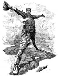 Punch cartoon depicting Cecil Rhodes as a colossus straddling Africa. (National Library of Ireland)