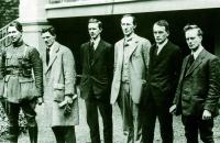 Liam Mellows (right) with pro- and anti-Treaty IRA commanders on 8 May 1922. (George Morrison)