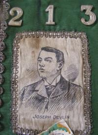 Joe Devlin and as commemorated on an AOH collarette. The coming man of constitutional nationalism, he described the AOH as 'a Catholic organisation with a membership of nearly one hundred thousand'. (seanfderry-studenna)
