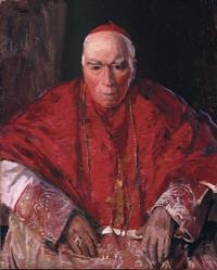 Cardinal Michael Logue by Sir John Lavery—in 1909, delivering an address at confirmation in Carrickmore, Co. Tyrone, he described the order as 'a pest, a cruel tyranny, and an organised system of blackguardism'. (Felix Rosensteil's Widow & Son Ltd)
