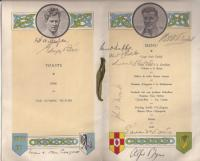 Opposite and right: The menu of a dinner to celebrate the return of Ireland's conquering Olympic champions, Pat O'Callaghan (top left) and Bob Tisdall (top right) on 27 August 1932—signed by them and, amongst others, Éamon de Valera, W.T. Cosgrave, Eoin O'Duffy and Alfie Byrne. (Larry Ryder)