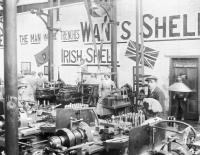 'THE MAN IN THE TRENCHES WANTS SHELLS—IRISH SHELL' says the slogan on the wall at the National Shell Factory in Dublin. Work in the munitions factories at Parkgate and in the Dublin Dockyard Company saw working-class women earning more than many of their male counterparts. While the war was a liberating experience for women of all social classes, only those from working-class backgrounds were subjected to regular social censure, usually for spending leisure time in pubs and 'the low saloon' of O'Connell Street. (Imperial War Museum)