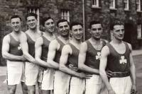 The Irish boxing squad before departure to the 1948 London Olympics: (left to right) G. Ó Colmáin, H. O'Hagan, Peter Foran, Mick McKeon, Michael 'Maxie' McCullagh, Kevin Martin and W.E. Barnes. The last five all lost to eventual medal-winners, as did Willie Lenihan (not in the picture). (Irish Press)