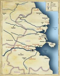 Map of north County Dublin/east Meath, showing main places in the 1650s. (Tomás Ó Brógáin)