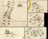 Clockwise from top: Enlarged images from County Meath maps drawn c. 1659 show a range of building types: (1) Ratoath village (note the inn denoted by the flag); (2–4) small clusters of buildings, with and without chimneys, at Littlelagore and Flemingstown near Ratoath, and Piercetown near Dunboyne; (5) a fortified castle near Rathmolyon, at the edge of the old Pale. (British Library)