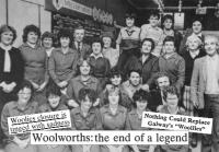 Staff from Woolworth's Drogheda store in 1984, with headlines from around the country. (Drogheda Independent)