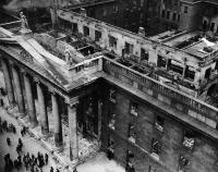 The gutted shell of the GPO. It was incredible that in the course of a clichéd treatment of the Easter Rising no use was made of the extraordinary pictures (moving and otherwise) of Dublin's devastated city centre in the aftermath of the British bombardment. (National Museum of Ireland)
