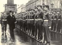 President Eamon de Valera inspecting a guard of honour, provided by B Company of the FCA's 7th Battalion, outside the GPO on Easter Sunday, early 1960s. The battalion commander was enraged at the 50% turnout at a rehearsal a few weeks earlier. (Irish Press)