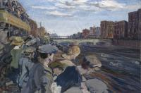 Jack B. Yeats's The Liffey Swim won the silver medal for painting in the 'Concourse d'Art' at the 1924 Paris Olympics. (National Gallery of Ireland)