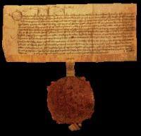A charter of English law dated 20 May 1467 to Sawe Kavanagh, with a magnificent wax impression of the great seal pendent of Ireland attached to the charter by a parchment tag. (National Library of Ireland)