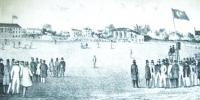 A mid-nineteenth-century cricket match at Lord's, headquarters of the MCC and universally known as the home of cricket, where the match against the 'gentlemen of Ireland' was played on 26–27 May 1862.
