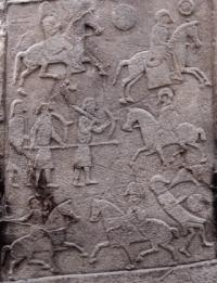 This Pictish carved stone at Aberlemno Church, five miles from the battle site, is a near-contemporary depiction. Ecgfrith is shown in the lower right-hand corner, being attacked by ravens. (Barbara Ballard and Martin McCarthy)