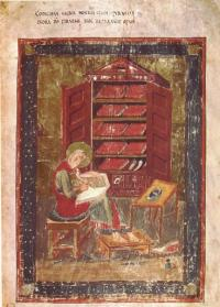 Aldfrith—an illustration added to the Codex Amiatinus, produced in Northumbria during the reign of Aldfrith. The image is of the Old Testament prophet Ezra, but it is also seen as a representation of Aldfrith studying in his library. (Biblioteca Medicea Laurenziana, Florence)