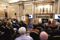 Northern Ireland First Minister Peter Robinson delivering the 'Edward Carson Memorial Lecture' to an invited audience at Iveagh House on 29 March. Unusually, the question-and-answer session happened before the lecture. (Department of Foreign Affairs)