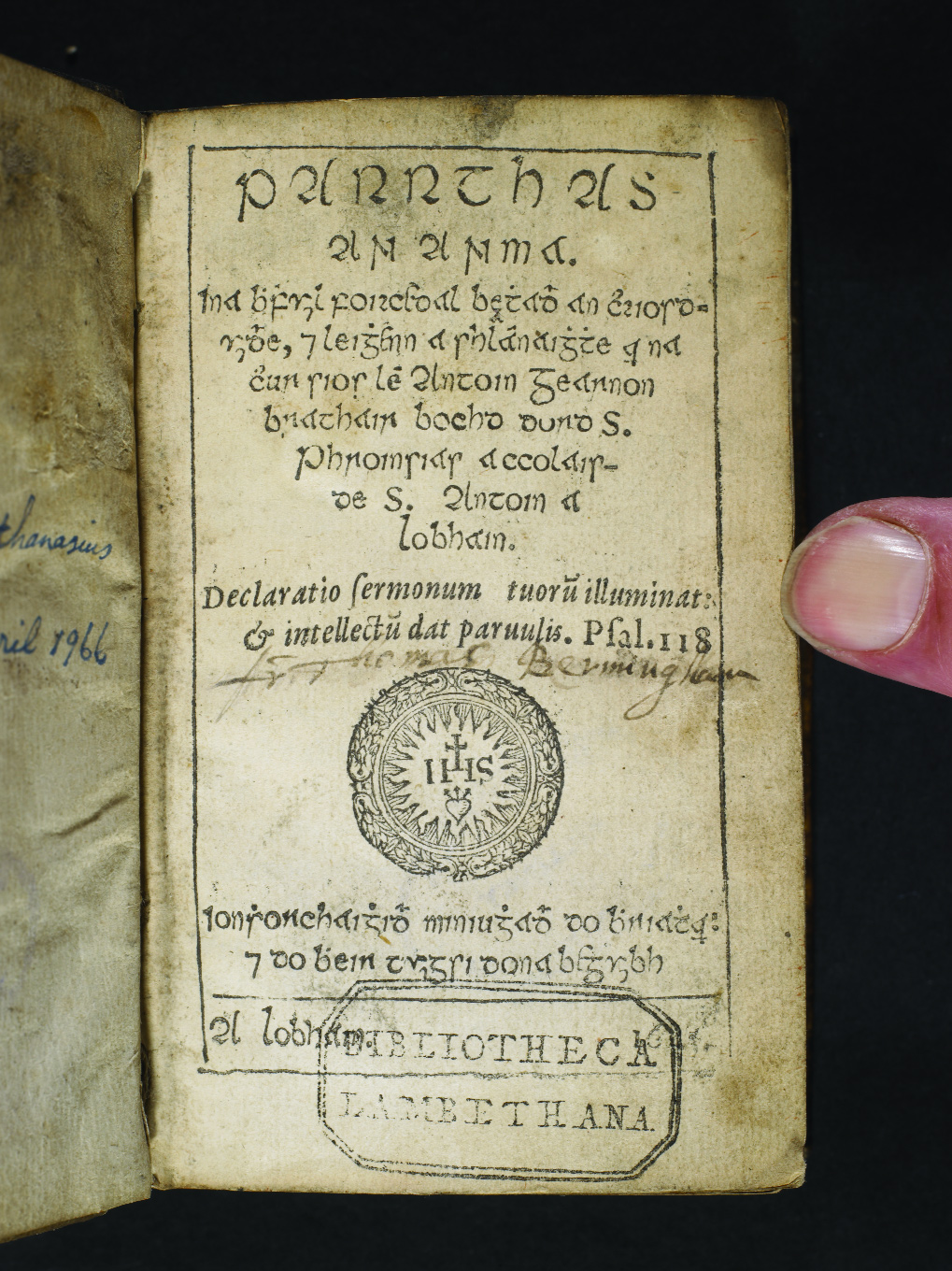 Parrthas an Anama ['Paradise of the Soul'] published in 1645 by Antoin Gearnoin. (UCD–OFM Partnership)