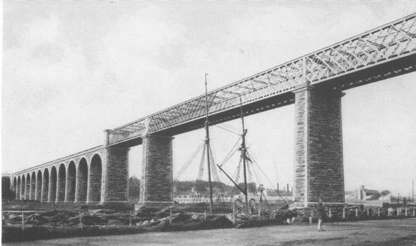 The rail bridge across the Boyne at Drogheda (as it looked before 1932), opened in 1855, completed the rail link between Dublin and Belfast.