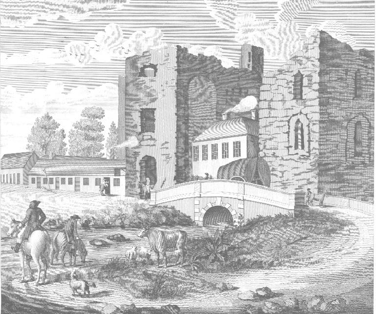 Forerunner of the M4, as depicted on Alexander Taylor's map of County Kildare in 1783. Traffic on the road west from Dublin passed through the ruined Maynooth Castle. Note the sign for a small tavern beside the castle gate.