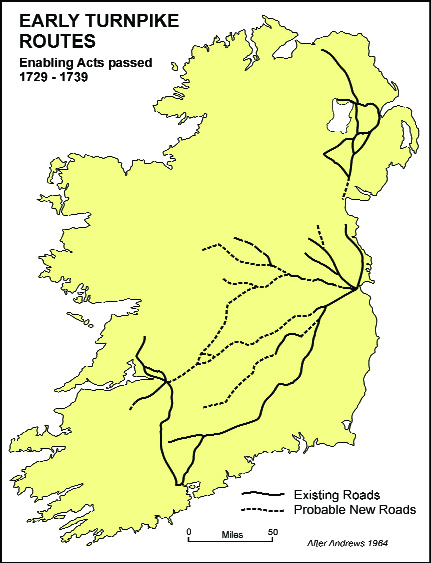 Early turnpike routes and inns advertised in Dublin newspapers, 1730–60.