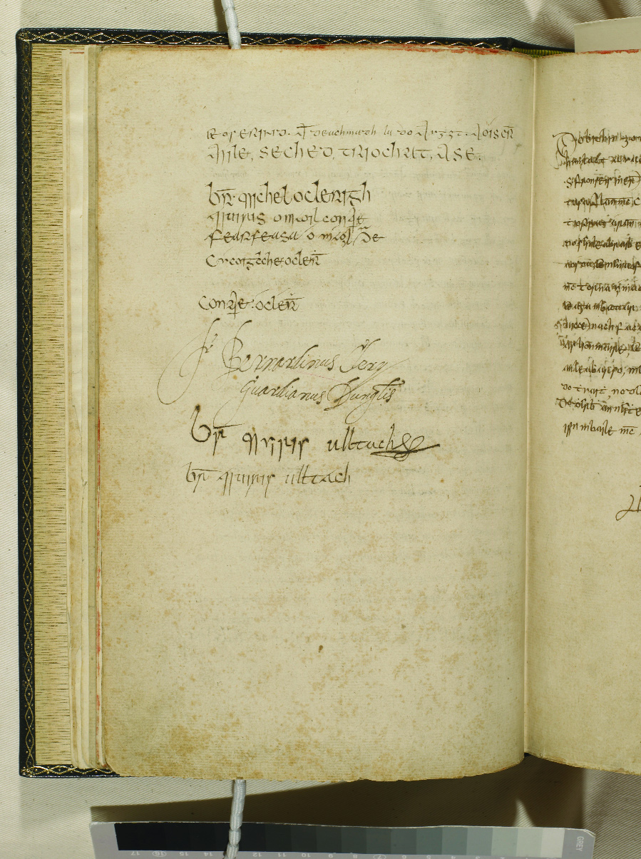 "Signature page of the Annals of the Four Masters, including Mí­cheál í"" Cléirigh. (UCD–OFM Partnership)"