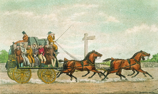 A Bianconi coach ('Bian'). From 1815 until the 1850s Charles Bianconi revolutionised public transport with his regular scheduled car service. (National Gallery of Ireland)