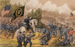 General Thomas Francis Meagher leading the bayonet charge of the Irish Brigade at the Battle of Fair Oaks, Virginia, 1 June 1862. (Currier and Ives)