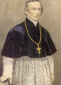 Archbishop Hughes of New York—'at least the black slave was guaranteed something the Irish immigrant was not, three square meals a day and a roof over his head every night'. (Currier and Ives)