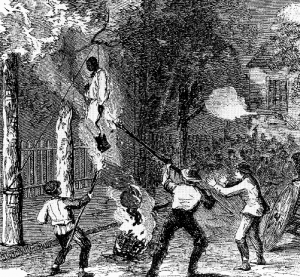 The lynching of an African-American on Clarkson Street by an Irish mob. (Harper's Weekly, 21 July 1863)