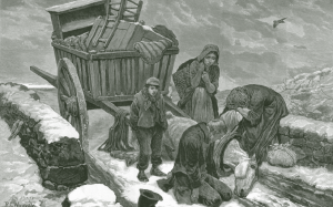 Above: An evicted family on the road in Connemara. The crisis of 1879–80—when the potato crop failed, seasonal migration remittances declined and the kelp industry suffered from foreign competition—was exacerbated by large-scale evictions. (Illustrated London News, 20 March 1880)