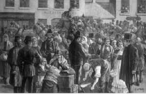 Above: 'Tuke' emigrants departing from Clifden. Note the family groups. (Illustrated London News, 21 July 1883)