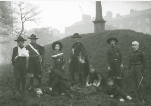 Above: Members of Na Fianna Éireann engaging in first-aid exercise in Dublin's Merrion Square c. 1917. Three of the 30 children killed in Easter 1916 were members; one was a member of the Irish Citizen Army. (NLI)