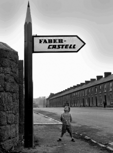 A signpost for the factory of the German firm A.W. Faber-Castell in Fermoy, Co. Cork, among the first multinational companies attracted to Ireland by the IDA. Production started in 1955. (Irish Examiner)