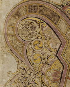 It has been suggested that this Chi-Rho initial, with its dazzling range of colour and intricate patterns, would have taken months, perhaps even a year, to complete. This is the top left corner of the folio, with two moths and an angel enmeshed in a sequence of curvilinear designs. It represents a mere 10% of the page as a whole. Time was obviously not of major concern to the artists, as suggested by the cartoon