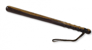 The standard police baton was 48cm long, while the mounted police carried a sword and a 62cm-long baton (top) in a leather saddle-pouch. (National Museum of Ireland)