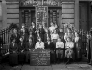 Members of the Irish Women Workers' Union, c. 1914. Helena Molony is seated third from left, front row, beside Delia Larkin. 'I knew little of Labour ideas. But I was always on the side of the underdog.' During the Lockout she worked in Liberty Hall's food kitchen and addressed strike meetings. (National Archives)