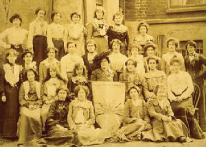 Members of Inghinidhe na hÉireann. Helena Molony is seated third from left, second row, beside Maud Gonne (holding the banner). 'I was a young girl dreaming about Ireland when I saw and heard Maud Gonne speaking by the Custom House in Dublin one August evening in 1903 . . . She electrified me and filled me with some of her own spirit.'