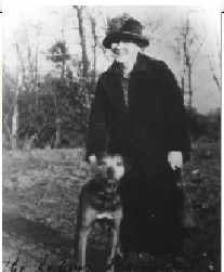 Helena Molony walking her dog in the 1950s. In her later years she lived in relative poverty, relying on friends for support and accommodation. (M.J. Neary)
