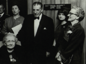 Helena Molony (bottom left) and Taoiseach Seán Lemass at the unveiling of a plaque in 1966 to commemorate the Abbey Theatre's 1916 rebels. She died a year later. (James Hardiman Library, NUIG)